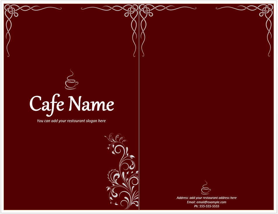 Cafe Menu Template  Free Menu Templates Microsoft Word