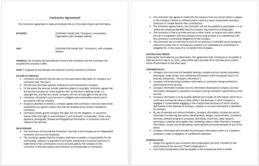 Contractor agreement template word