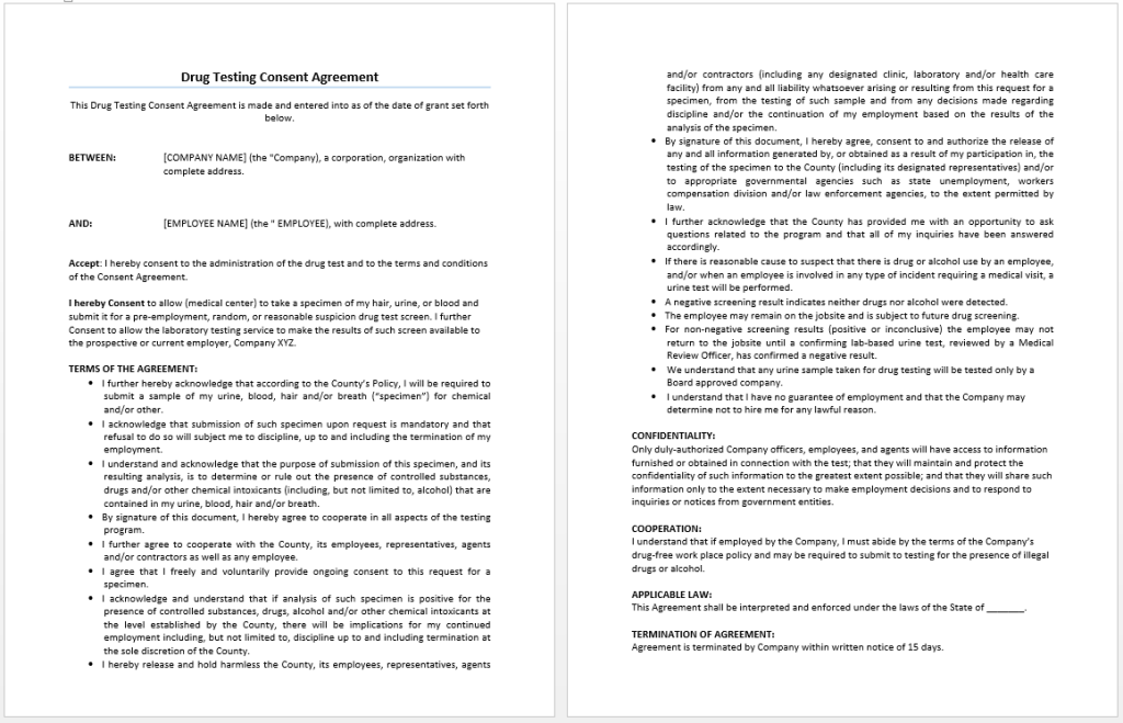 Drug Testing Consent Agreement Template - Word Templates