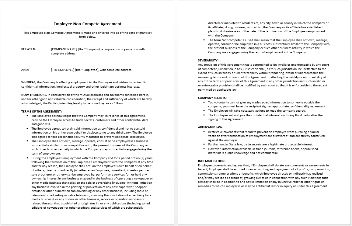 employee non compete agreement template format template