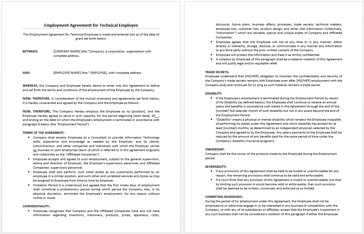 employment agreement template in word .