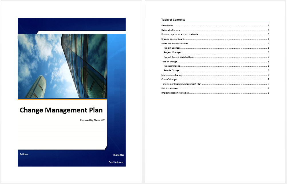 change management excel template