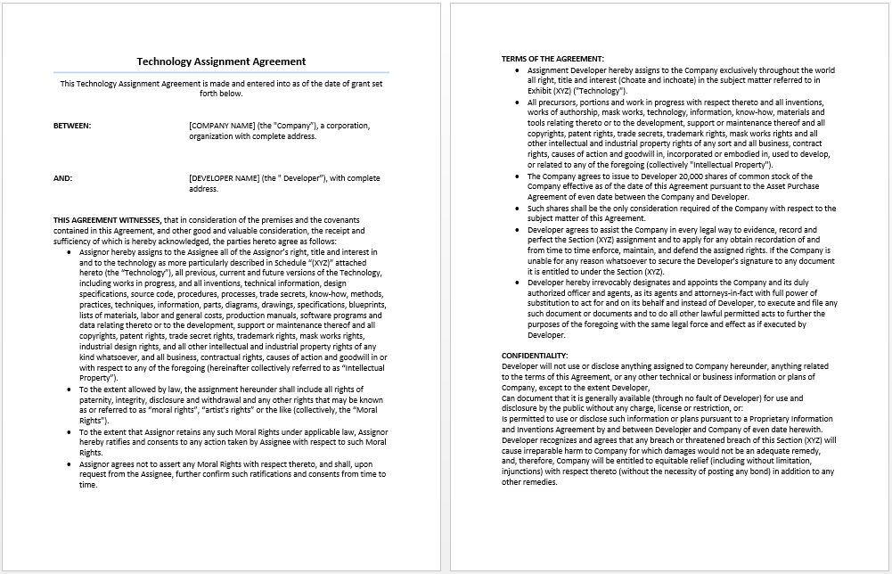 Technology Assignment Agreement Template