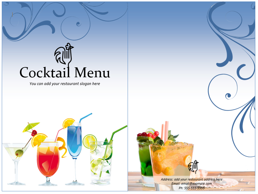 Cocktail Menu Templates Free - Free printable drink menu template