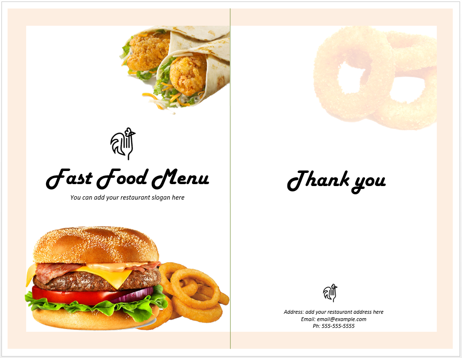 Fast Food Menu Template  Cafe Menu Template Word
