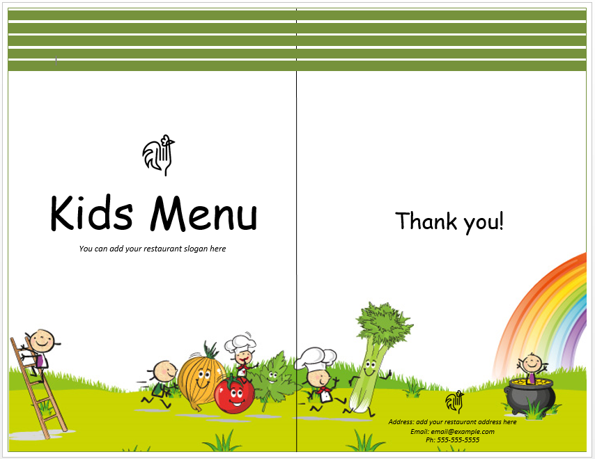 Free Kids Menu Templates  Free Kids Menu Templates
