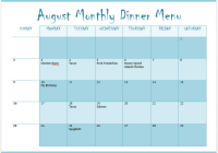 Monthly Menu Template