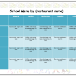 Weekly School Menu Template