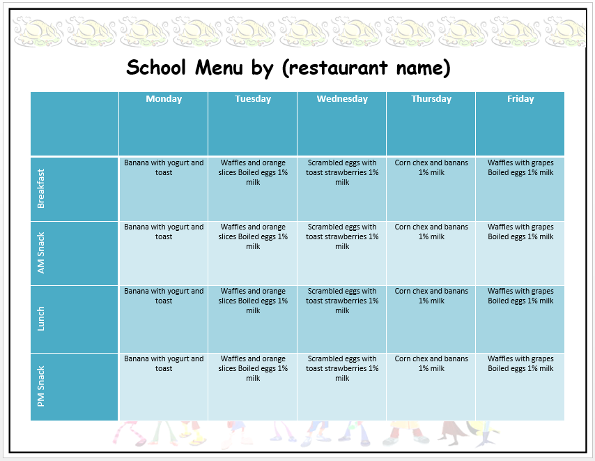 School Menu Template  Free Weekly Menu Templates