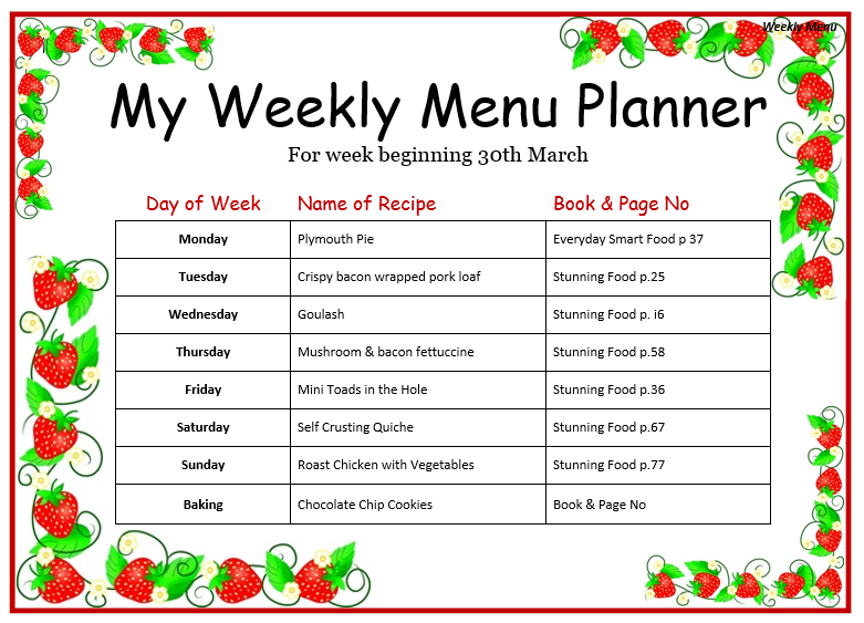 Weekly Menu Template  Menu For The Week Template