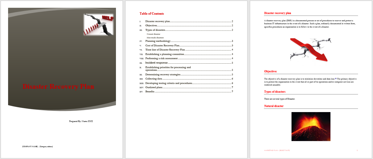 Disaster Recovery Plan Template - Natural disaster recovery plan template