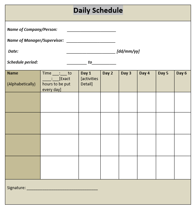 16 Free Daily Task Planner Templates In MS Word Format