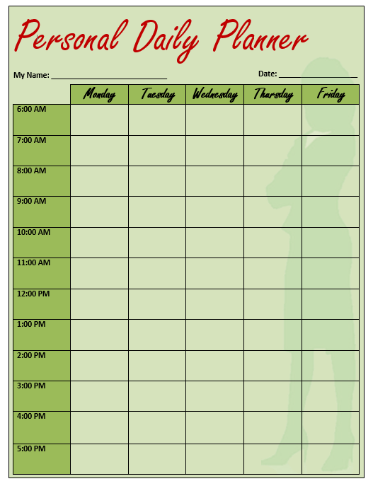 daily planner template 12