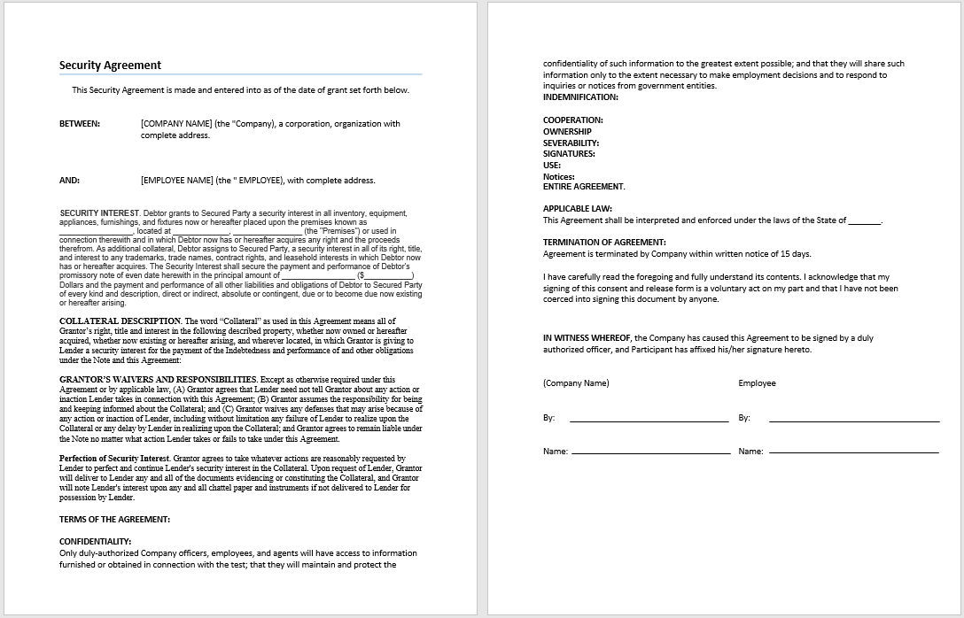 Security Agreement Template – Sample Security Agreement