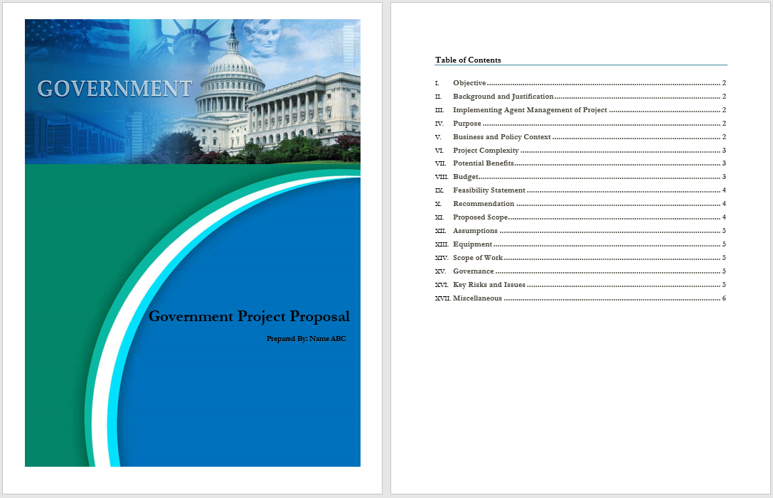 Government Proposal Example Archives Word Templates