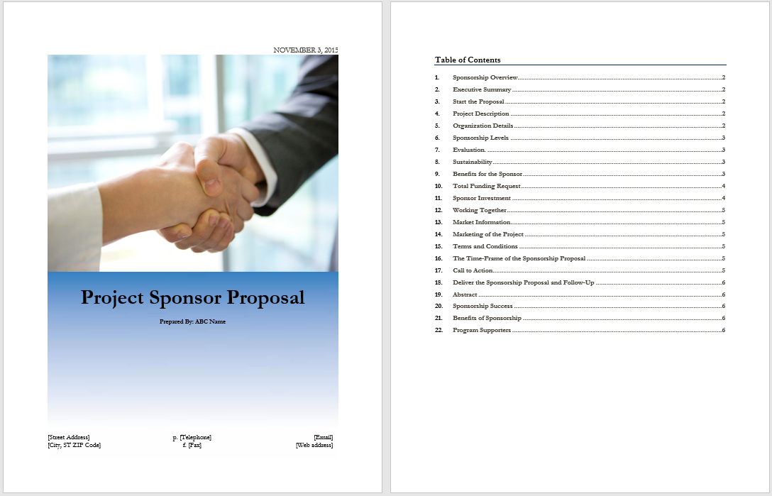 Project Sponsor Proposal Template