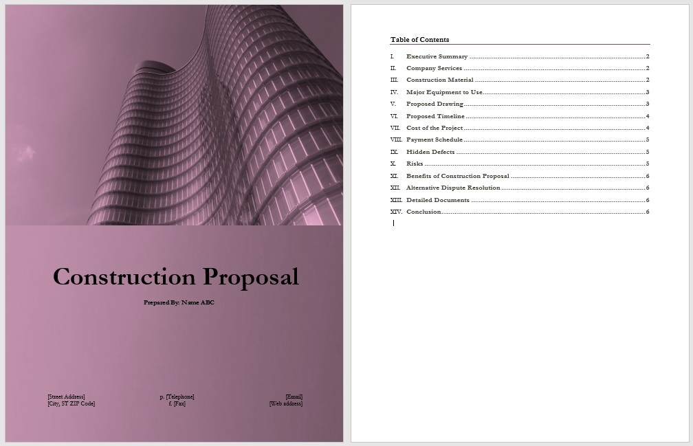 Construction Proposal Template 14 Free Construction Proposal
