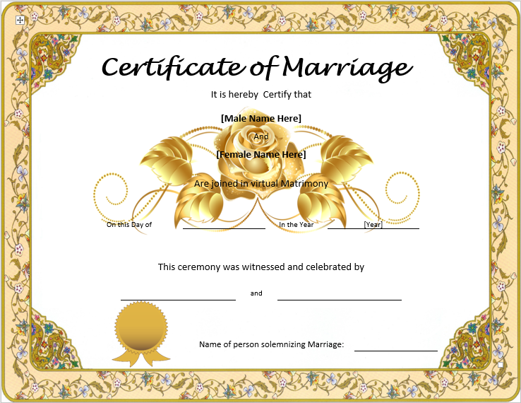 free marriage certificate template 28 images marriage