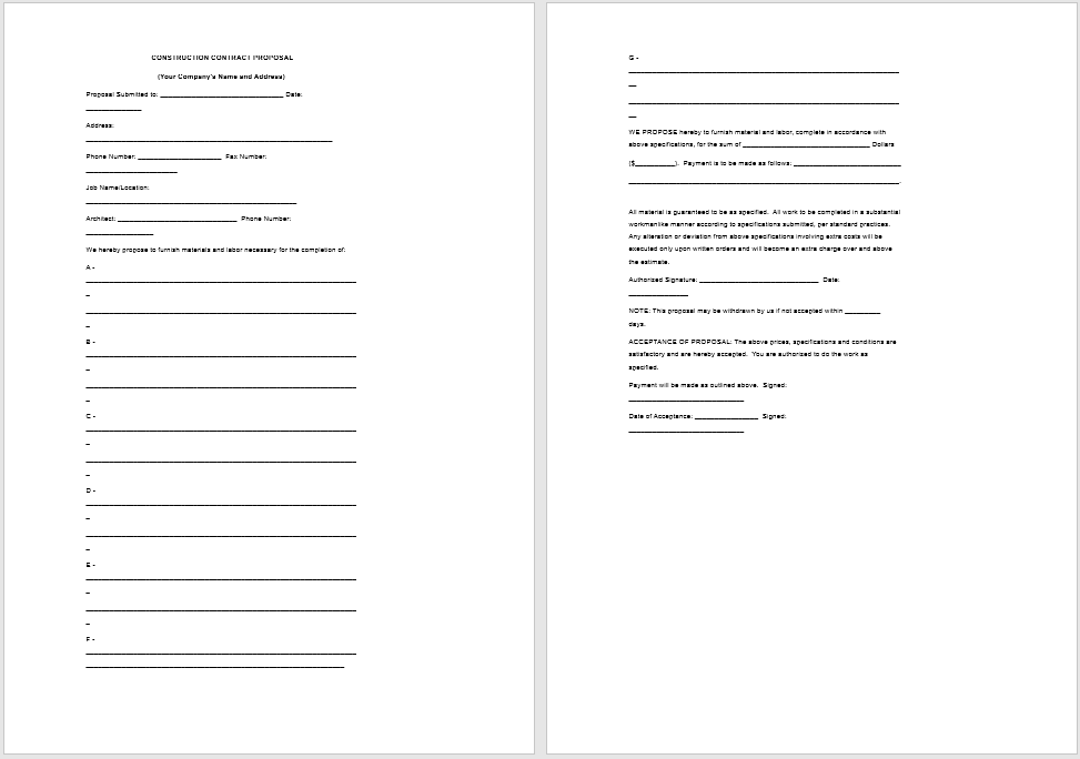 construction proposal template 12