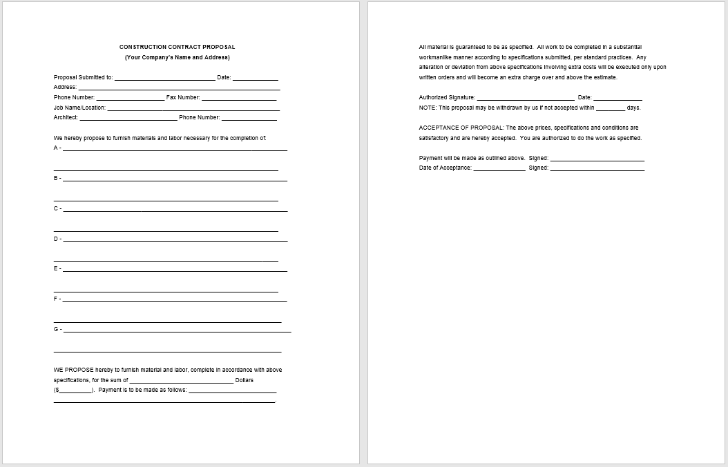 construction proposal template 14