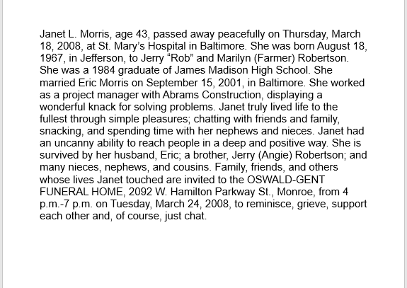 obituary notice sample 06