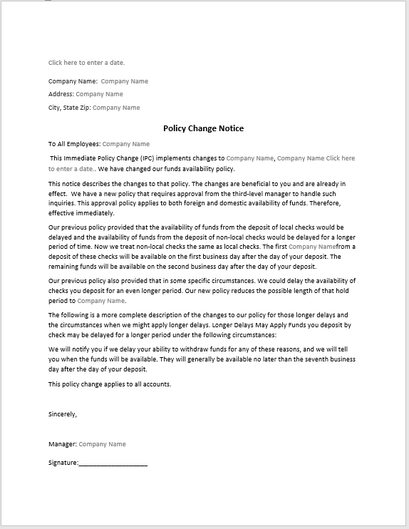 Policy Change Notice Sample Word Templates