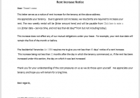 Rent Increase Notice Sample