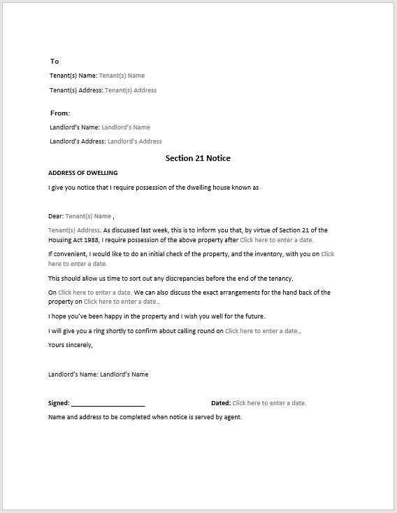 Section 8 Notice Sample | Format & Template