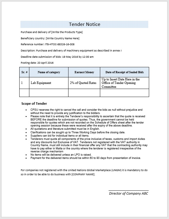 Tender Notice Template Format And Sample Format Amp Template