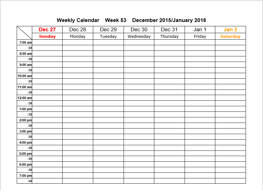 weekly schedule template 10