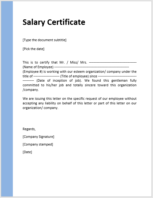 Sample salary certificate letter resume