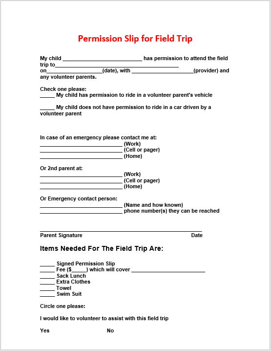 trip permission slip 07