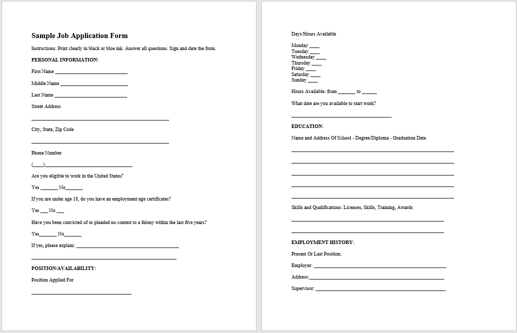 sample job application form