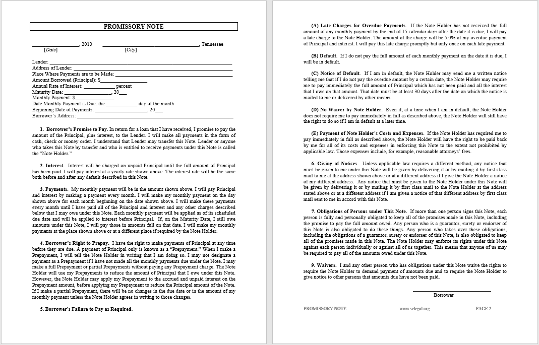 promissory note template 07