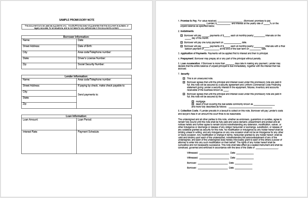 promissory note template 08