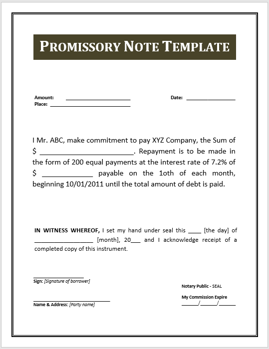 promissory note template 10