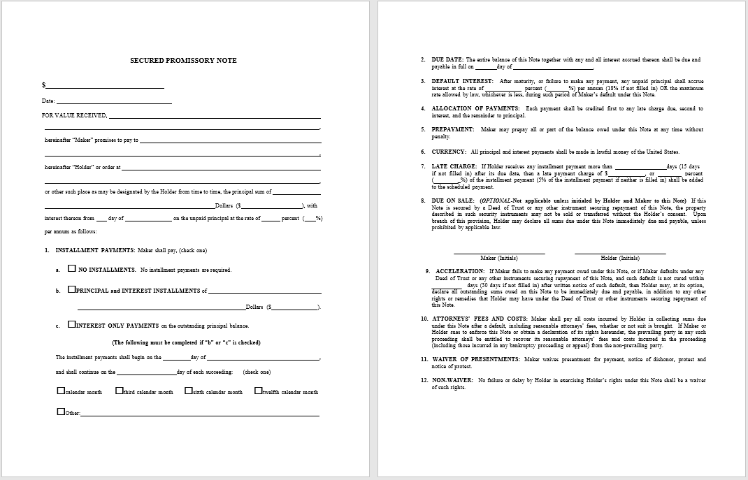promissory note template 12