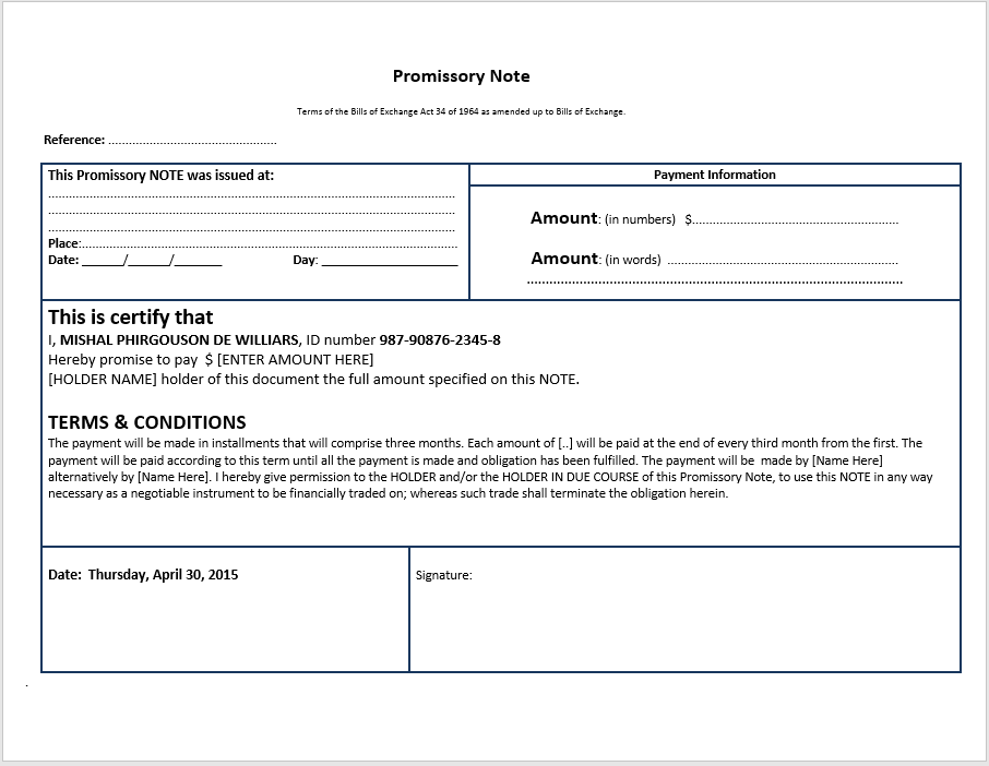 promissory note template 13