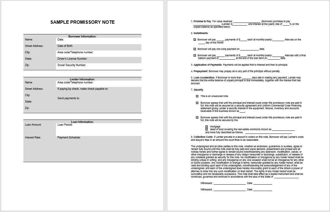 promissory note template 14