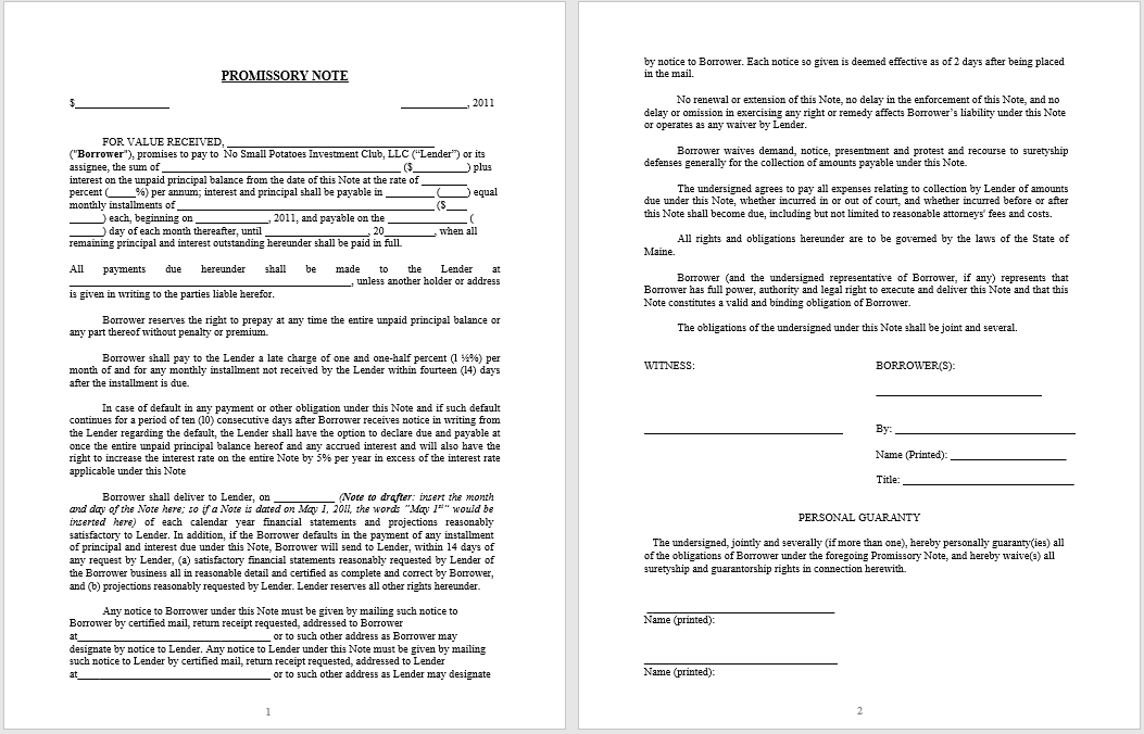 promissory note template 15
