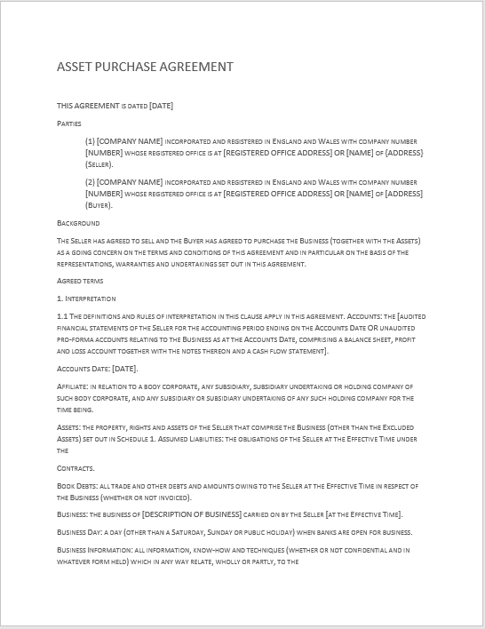 Purchase Contract Word Template 06