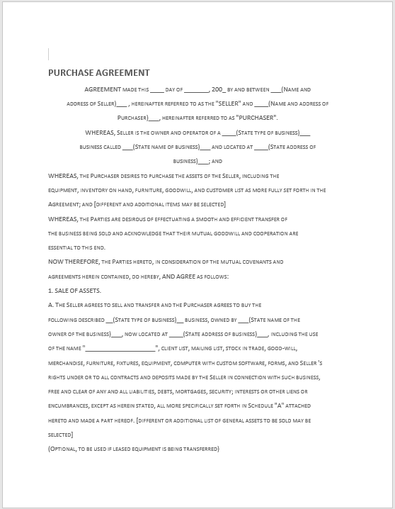 Purchase Contract Word Template 07