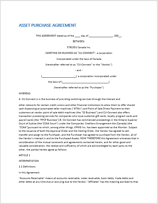 Purchase Contract Word Template 08