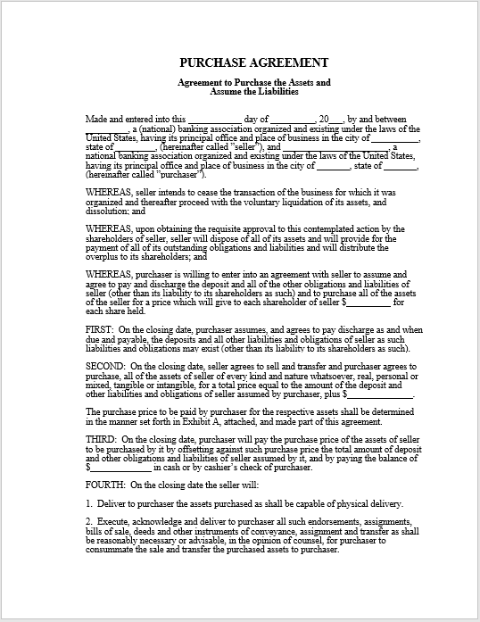 Purchase Contract Word Template 10
