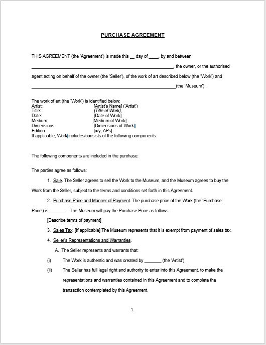 Purchase Contract Word Template 12