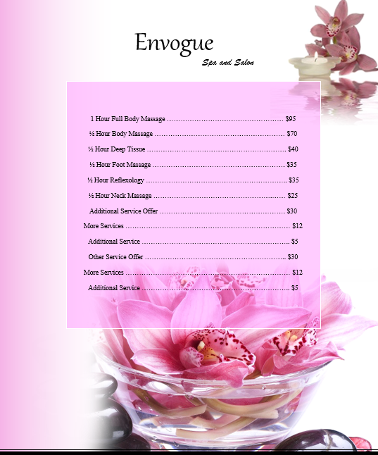 price list template 06