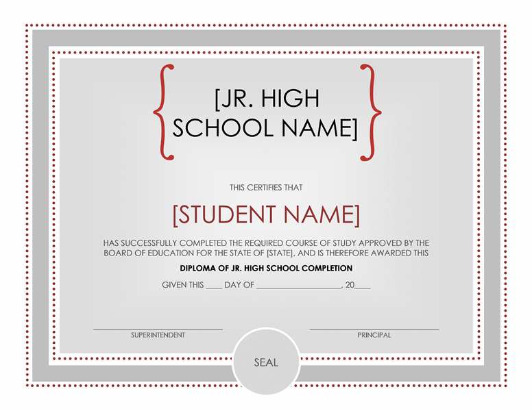 High School Certificate Template