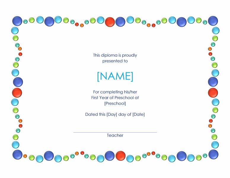 Preschool Certificate Template