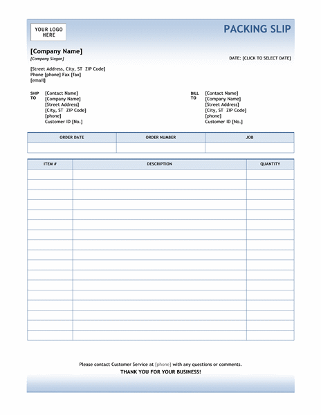 Packing Slip Template