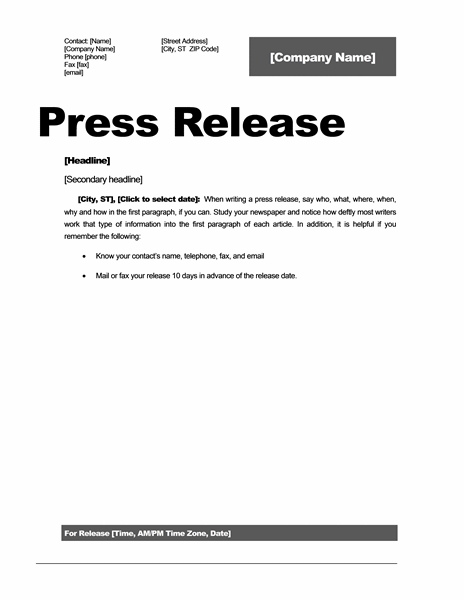 Press release template 15 free samples ms word docs for Event press release template word